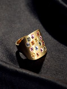 18K YELLOW GOLD WITH MULTICOLORED SAPPHIRES by ARIDO jewelry design