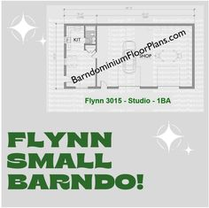 Flynn Studio 30′ x 15′ -1bath (450 sq ft). We sell semi-custom Barndominium floor plans and provide helpful tips to design and build your home whether it is DIY or you are paying a company. #architecture #barndominiums #home #modernbarn #barnhomefloorplans #beautifulbarn #homefloorplan #barnhomedesign #housedesign #barndominiumfloorplans #floorplan #dreambarn #barnhouse #barndominiumliving #barndominiumdesign #studiotype #smallbarndo