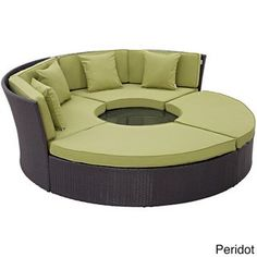 Convene Circular Outdoor Patio Daybed Set in Espresso Peridot - East End Imports stages of sensitivity with the Convene outdoor sectional series. Made with a synthetic rattan weave and a powder-coated aluminum frame, Convene is Patio Daybed, Outdoor Sectional, Sofa Daybed, Patio Seating, Sectional Sofa, Daybed Sets, Circular Patio, Modern Furniture, Outdoor Furniture