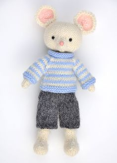 Mouse toy  little white mouse  knit mouse with his by elvesworld
