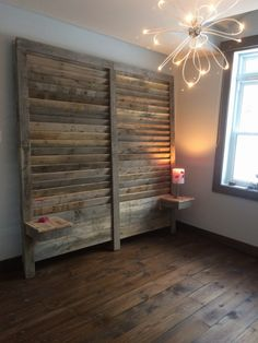 Pallet headboard and bedside tables. Pallet wood create louvers | 1001 Pallets