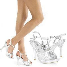 New Silver Rhinestone Party Evening Wedding Prom High Heel Sandal Shoe US 8