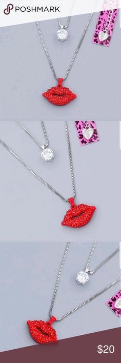 Red Enamel Crystal Red Sext lips Double chain Neck Betsey Johnson sexy Red Enamel Sex Lips.... Betsey Johnson Jewelry Necklaces