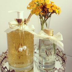 DUO LAVABO DA LINHA ELEGANZA- sabonete líquido em glitter ouro e difusor de aromas por varetas!