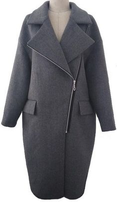 Cashmere & Wool Blend Coat in Grey