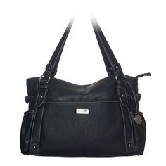 """Mary-Black Bag Casually chic, the Mary satchel bag will hold everything you need to take on the day. Crafted of faux leather and silver-toned hardware.  •  Faux leather •  17"""" L, 11"""" H, 5"""" W •  Handles with 10"""" drop •  Exterior pocket fits any Grace Adele Clutch"""