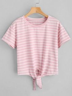 Cropped Self Tied Stripes Top - Pink S
