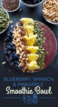 To make the smoothie, blend baby spinach, blueberries, apple juice, and ice. The toppings are blueberries, puffed kamut cereal, flax seeds, pineapple, pumpkin seeds, and a drizzle of honey.If you can't find puffed kamut in your cereal aisle, substitute something like Rice Krispies. Get the recipe at the bottom of the post.