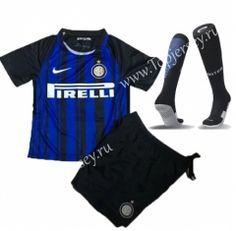 0fcd66425 2017-18 Inter Milan Home Blue Black Kids Youth Soccer Uniform With Socks