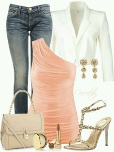 Date Night or Girls Night Out. Dressed up jeans with pink and gold.