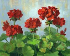 DPW Fine Art Friendly Auctions - Geraniums Flocked by Linda Jacobus