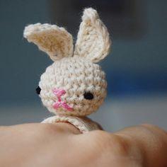 podkins:  Oooo — creative! Amigurumi Crocheted Bunny Bea Ring made by Sanda J Dobrosavljevon Flickr.