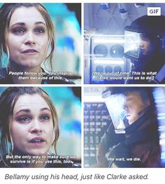 This scene was so emotional. By watching Bellamy's face you could tell he was heartbroken but he knew that Clarke wouldn't want them to wait.