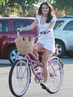 Lea Michele rides her bike to Glee