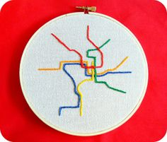 DC Metro Map Embroidery Wall Decor by Hey Paul Studios, via Flickr