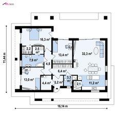 Z344 to wyjątkowy dom z kategorii projekty domów jednorodzinnych New House Plans, Design Case, New Homes, Floor Plans, Portugal, How To Plan, Model, Country Houses, Floor Plan Drawing