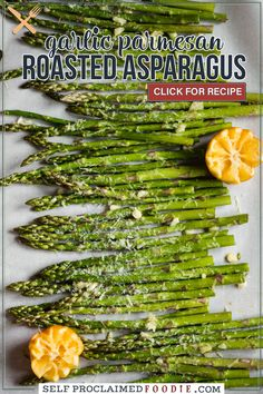 Oven Roasted Asparagus, made from fresh asparagus, olive oil, garlic, and parmesan, is a simple and easy vegetable side dish. With very little prep and cook time, you end up with the most delicious, tender, vibrant green asparagus. If you're looking for a healthy vegetable to serve with dinner, this is the recipe!