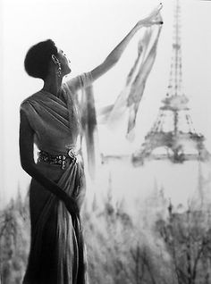 Lillian Bassman gelatin silver print of Barbara Mullen at the Eiffel Tower, Paris, 1950s.