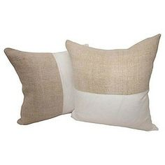 French Linen and White Linen Pillow - A Pair - Chairish