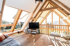 The upstairs part of the maisonette showing the large #oakframe rafters #extension www.tradoak.com