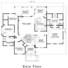 First Floor Plan of House Plan 62339