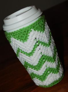 """Free Crochet Pattern: """"Chasing Chevrons"""" Venti Cozy 16 or Whiskers & Wool: Lots of Free Crochet Patterns whiskersandwool. Crochet Coffee Cozy, Crochet Cozy, Crochet Gifts, Cute Crochet, Crochet Scarves, Mug Cozy Pattern, Free Pattern, Chevron Crochet Patterns, Crocheting Patterns"""