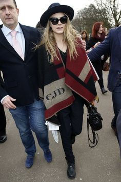 Cara Delevingne sported the Burberry poncho first.