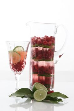 "Enjoy this delicious ""Raspberry Mist"" recipe that was graciously provided by the Hyatt Regency Tamaya Resort & Spa. It is featured in our Spa Water Recipe Book.   Raspberry Lime Spa Water  Ingredients: • 3 cartons of raspberries • 4 limes, thinly sliced • Ice and water  Directions: • Alternate fruit and ice in a beautiful beverage server."