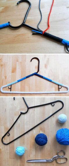 Add Yarn To Hangers to Prevent Clothes Falling Off | 20 DIY Closet Organization Ideas for The Home | DIY Closet Storage Ideas for Small Spaces