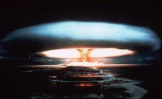 A 1971 photo of a nuclear bomb detonated by the French government at the Mururoa atoll, French Polynesia. (AP Photo)