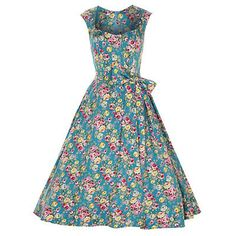 Swing Grace floral print tea turquoise- vintage, 50's, rockabilly, retro jurk met strik