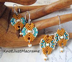Micro macrame earrings by Knot Just Macrame.