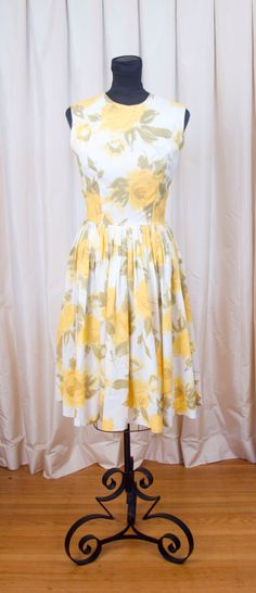 1960's Dress // Yellow Rose Watercolor Dress from Lord and Taylor