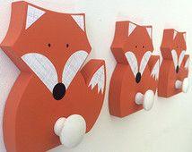 Fox Wall Hook, Orange Fox, Woodland Kids Decor, Woodland Nursery, Wooden Fox Hanger, Kids Decor, Eco-friendly
