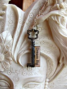 Message Pendant Key Dream Big by RebeccasWhims on Etsy, $12.95