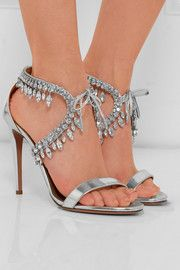 Aquazzura Milla Jewel 105 Embellished Metallic-leather Heeled Sandals In Silver Silver Sandals, Lace Up Sandals, Leather Sandals, Shoes Sandals, Gold Heels, Stiletto Heels, High Heels, Jeweled Sandals, Rhinestone Shoes