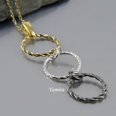 Sterling silver oxidized and gold plated simple pendant / classy jewellery for wedding / modern jewelry / three subtle delicate hoops by TheBestEarrings, $16.00