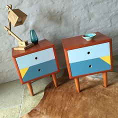 Upcycled Mid Century Vintage Retro Danish Style Bedside Tables Drawers in Antiques, Furniture, Cabinets, Cupboards