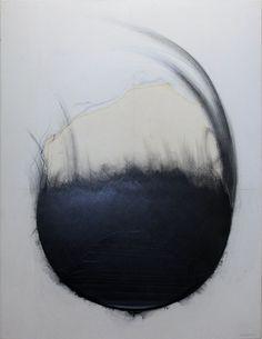 'Circle 06-8-10' (2006) by Japanese mixed-media artist Takesada Matsutani (b.1937). Embossed vinyl glue & graphite on canvas, 146 x 114 cm. via Galerie Jean Greset on artalog