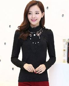 TC001173 Thick lace bottoming shirt fat shirts for women
