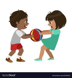 Boy taking away a ball from a girl part of bad vector image on VectorStock Love Cartoon Couple, Cute Love Cartoons, Bad Kids, Cute Kids, Brother And Sister Fight, Baby Umbilical Cord, Pecs Pictures, Beautiful Love Pictures, Preschool Learning Activities