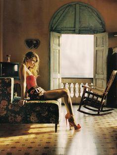 "Angela Lindvall by Tom Craig | ""Viva Cuba"", Vogue UK June 2010"