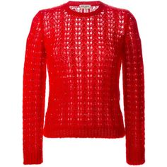 Saint Laurent loose fit sweater ($1,615) ❤ liked on Polyvore featuring tops, sweaters, red, red long sleeve top, loose long sleeve tops, loose fitting tops, loose sweater and crew-neck sweaters