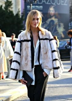 furry fab. Anja #offduty in Paris. #AnjaRubik