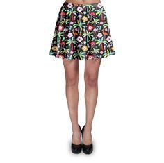 Flamingo Paradise Dark Skater Skirt Xs-3Xl Stretch Flared Short Skirt