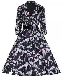 Printed Lapel dress With Belt Black