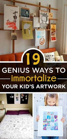 19 Genius Ways To Immortalize Your Kids' Artwork. I would never of thought of any of these! Childrens Artwork, Kids Artwork, Projects For Kids, Crafts For Kids, Diy Projects, Photo Projects, Baby Crafts, Artwork Display, Craft Activities