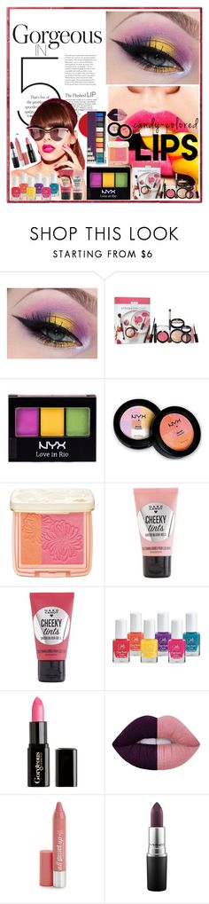 """""""#candycoloredLIPS #candycolored #LIPS"""" by fashiongarlx ❤ liked on Polyvore featuring beauty, Laura Geller, NYX, Paul & Joe, Hard Candy, Gorgeous Cosmetics, Lime Crime and MAC Cosmetics"""