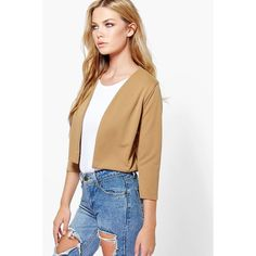 Boohoo Katie Crop Ponte Edge To Edge Blazer ($16) ❤ liked on Polyvore featuring outerwear, jackets, blazers, camel, blazer jacket, camel jacket, ponte blazer, cropped blazer jacket and puff sleeve blazer