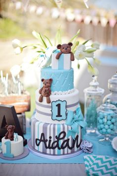 Aqua and Grey Teddy Bear Cake by Hey There, Cupcake!  Sweets table styling by Events by Elisa